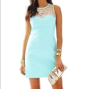 Lilly Pullitzer blue beaded mesh shift dress